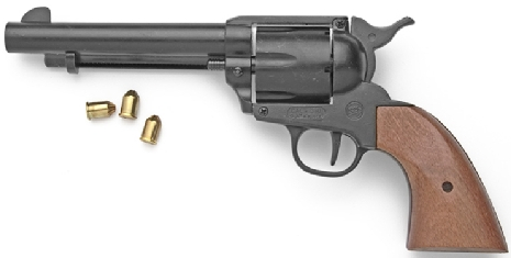 Model 1873 Fast Draw Model Blank-Firing Replica Revolver, Black with wood grip