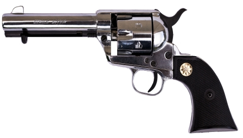 Model 1873 Fast Draw Model Blank-Firing Replica Revolver, Nickel with black checkered grip