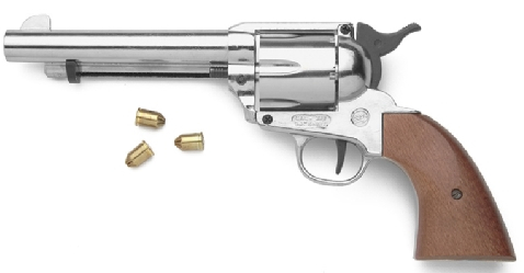 Model 1873 Fast Draw Model Blank-Firing Replica Revolver, Nickel with wood grip