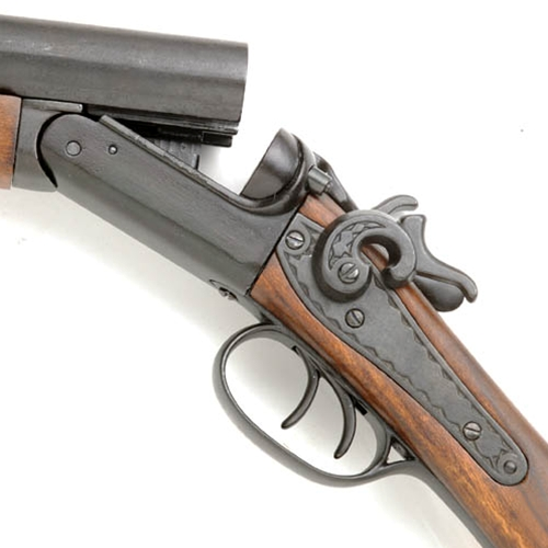 Closeup view of 1881 Double Barrel Sawed-Off Shotgun
