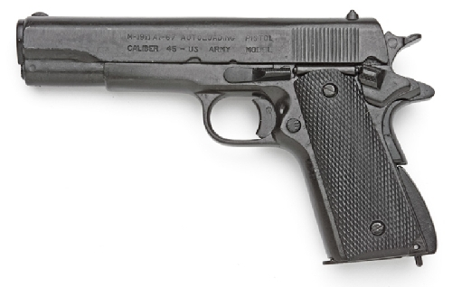 M-1911 .45-caliber  U.S. Military Pistol, Black, black grip