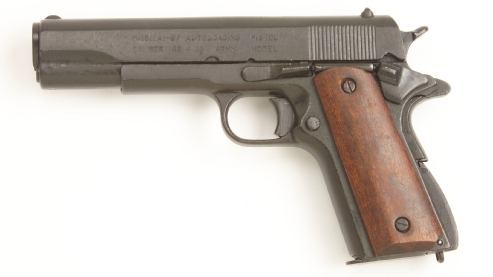 M-1911 .45-caliber  U.S. Military Pistol, Black, Wood Grip