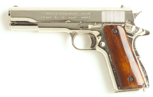 M-1911 .45-cal U.S. Military Pistol, nickel finish