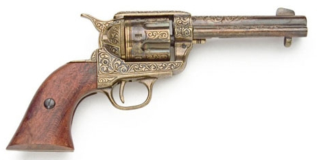 1873 SAA with simulated gold-plate engraving, wood grips and 4.75 inch fast-draw style barrel.