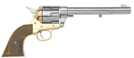 1873 SAA Cavalry Cap Gun Revolver Replica, nickel and brass with wood grips