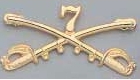 Crossed Sabers 7th Cavalry Insignia, brass