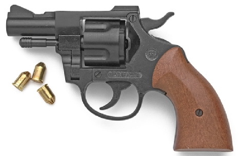 Olympic .357 Magnum-type Blank Firing Pistol, 2.5 inch barrel, black with wood grip