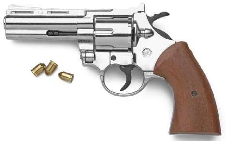 .357 Magnum-Style 9mm Blank Firing Pistol, Nickel/Wood Grip