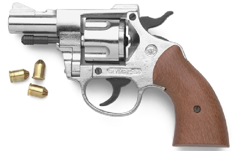 Olympic .357 Magnum-style 9mm blank-firing pistol, nickel with wood grip