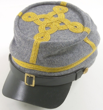 Confederate Officer Kepi Cap, Gold Braid on Gray Cap