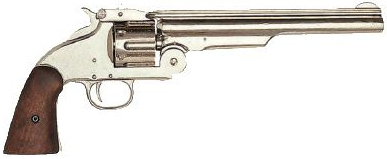 Smith & Wesson Schofield 1869 Replica Revolver, Nickel, Wood Grip