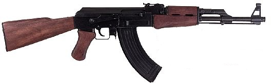 Tactical Assault Rifle with wooden stock, banana ammo clip