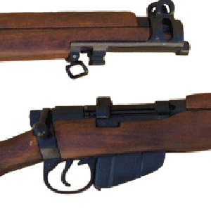Close-ups of the Enfield SMLE trademark blunt nose barrel and short magazine clip.
