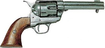 1873 Single Action Army fast draw revolver, 5 inch barrel, antique gunmetal gray finish with wood grip