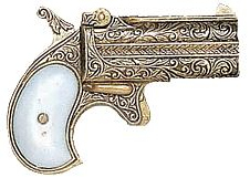 Double-Barreled Western Derringer, gold-plated engraved case, pearl-style butt