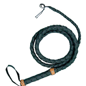 Hand-Made Leather Bullwhip, brown top-grain cowhide, 75 inches long