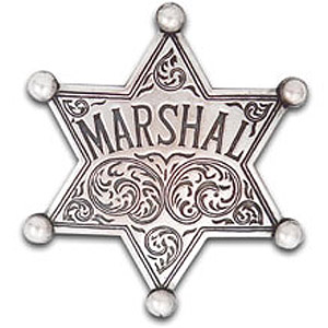 Silver marshal badge with ball-tip points