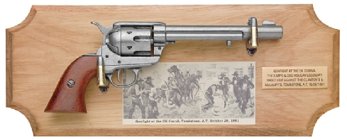 OK Corral Framed Set, 1873 Cavalry Model with vintage print of gunfight and brass identification plate on wood plaque