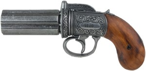British Pepperbox Revolver, pewter finish