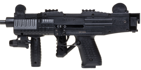 ASI full auto blank-fire SMG, black, stock folded