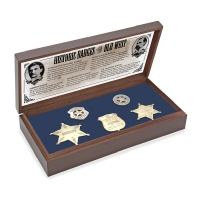 Old West Badge Collection in wood presentation box with blue foam insert, historical information card in lid