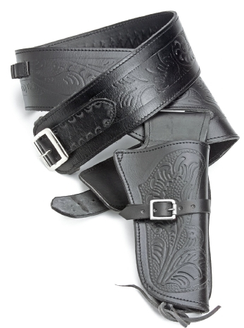 Tooled black leather fast draw single holster and gunbelt with cartridge loops