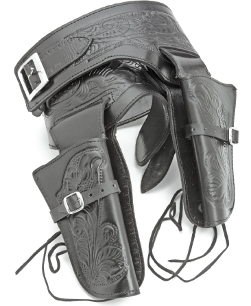 Double fast-draw tooled fast-draw holster, embossed black leather, fits most Western-style revolvers.