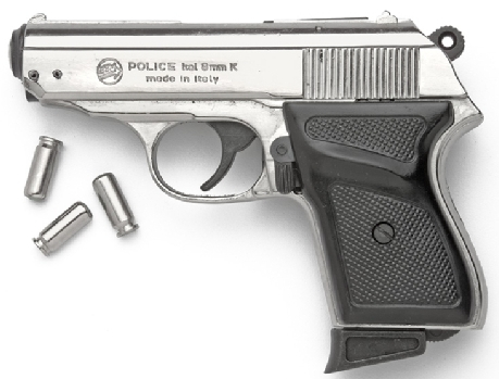 James Bond Automatic Pistol, Nickel with black checkered composite grip