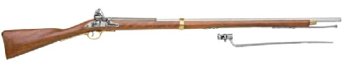 Brown Bess British Flintlock Musket, 75 inches long with included bayonet, non-firing replica of American War for Independence Musket