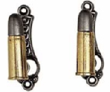 .45 Caliber Replica Bullet Gun or Sword hangers, spring loaded, set of two