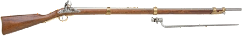 Charleville Rev. War Musket, real wood stock, 3 brass bands, pewter barrel and flintlock