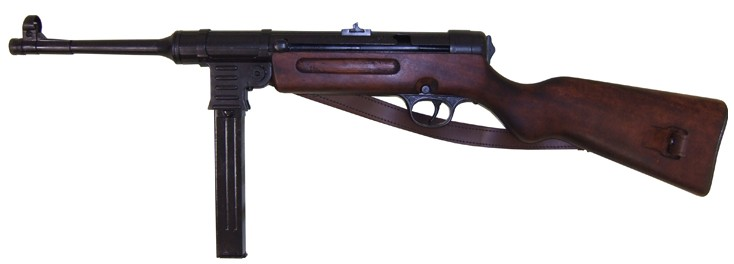 MP41 German WWII machine gun, wood stock, with leather sling