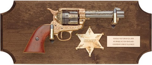 Frontier sheriff framed display with 1873 engraved SAA replica revolver