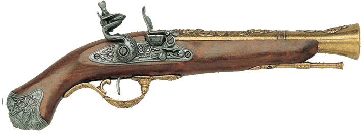 British Blunderbuss Flintlock Pistol, Brass Finish