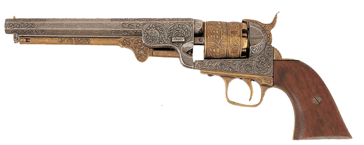 1851 Navy engraved  revolver, pewter and brass, wood grips