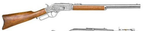 1873 Winchester Lever-action Repeating Rifle, Pewter finish with engraving