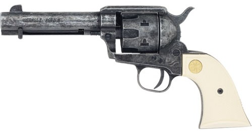 John Wayne Red River 9mm blank-fire SAA Six Shooter, antiqued grey wiht faux ivory grip.
