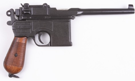 Mauser Broomhandle Machine Pistol Replica with wood grips