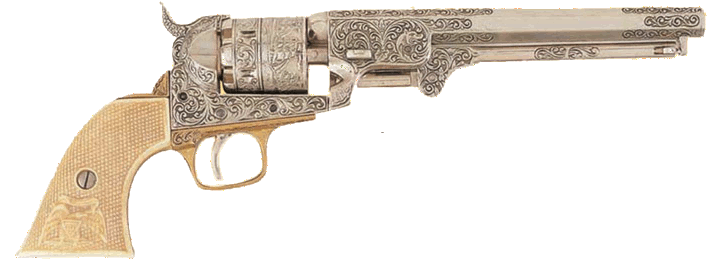 1851 Navy engraved  revolver, nickel  simulated ivory grip