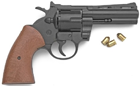 9mm blank-firing Magnum-style pistol, blued finish, simulated wood grip