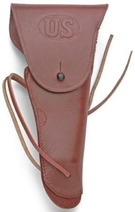 U.S. Standard GI Holster for M1911 .45 automatic pistol, brown leather