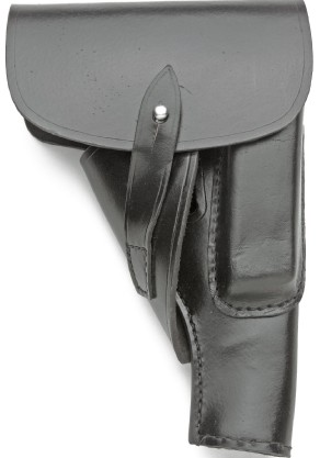 Universal Holster for P38 and P08 type pistols, black leather, extra magazine pouch and full flap cover