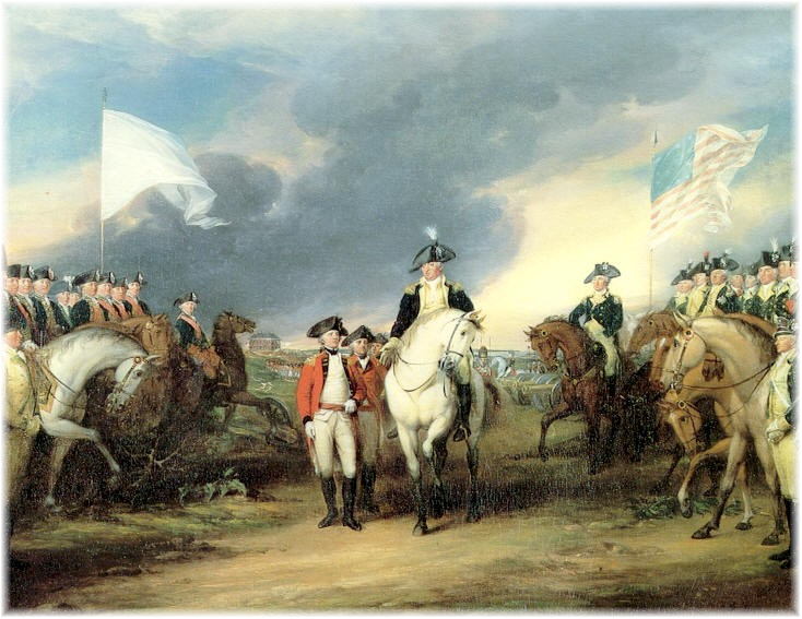 John Trumbull 1797 painting titled Surrender of Cornwallis at Yorktown