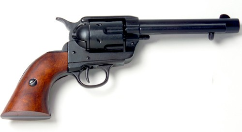 1873 Single Action Army revolver, 5.5 inch barrel, black with wood grips