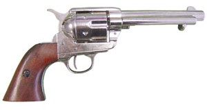 1873 SAA .45 revolver replica in nickel finish with wood grips