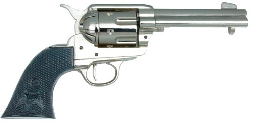 Old West SAA revolver, nickel finish with black composite grip