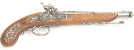 French percussion cap pistol replica,  antiqued silver finish.