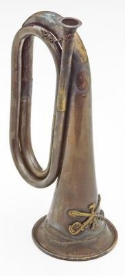 7th Cavalry Civil War bugle, ajntiqued brass