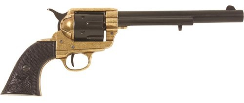 1873 SAA Cavalry style revolver replica, black with brass trim and black American Eagle grips.