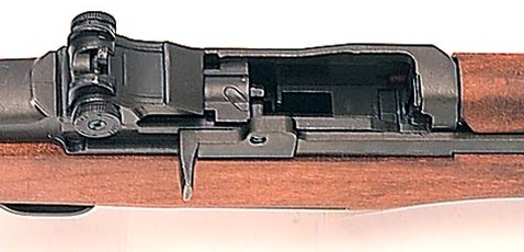 Close-up of M1 replica loading mechanism with breech open.